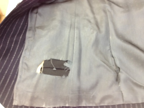 ジャケットの裏地修理before