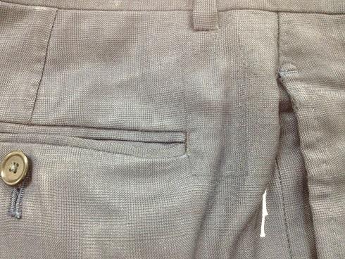 スーツポケット横のやぶれ直し(方法:かけはぎ)after
