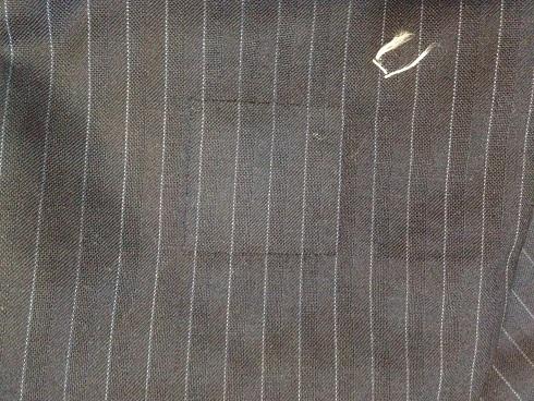 スーツのパンツ(ストライプ)穴をかけはぎで修理after